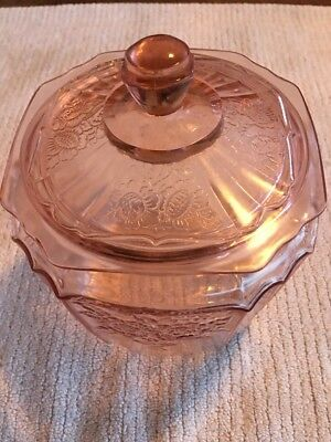 Pink Depression By Hocking Glass Mayfair Open Rose Cracker/Cookie/Candy Jar(EUC)