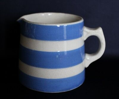 Vintage Aust Pottery FOWLER Milk Jug Creamy White Glazing & Blue Stripes No 2