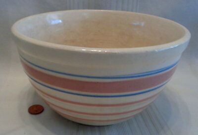 ~1920's/30's Vintage McCoy Ribbed Pink/Blue Banded Yellowware Yellow Ware Bowl!~