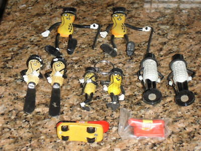 Mr Peanut Collectibles Lot Knifes Key Rings Whistle Toy Wiener Mobile Bendable
