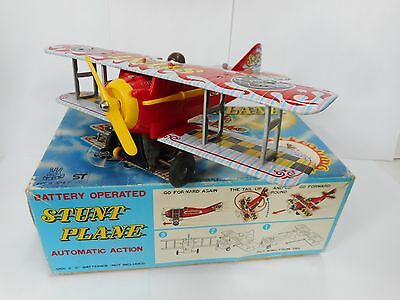 Vintage St Japan Stunt Plane Biplane Battery Operated Tin Toy Boxed