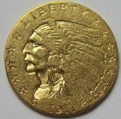 1911-P Gold Quarter Eagle Indian Head $2.50 Old US Coin 22k 2 1/2 Dollars W055