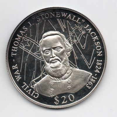 2000 LIBERIA $20 .999 SILVER CROWN PROOF COIN STONEWALL JACKSON hairlines