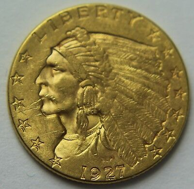 1927-P Gold Quarter Eagle Indian Head $2.50 Old US Coin 22k 2 1/2 Dollars W047