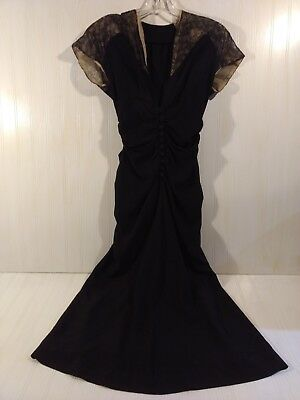 "Vintage Black Wiggle Dress 40s? 50s? Lace Cap Sleeves XS S 34"" chest  25"" waist"