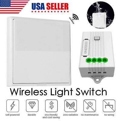 US Wireless Self-Powered Remote Control Light Switch + 433MHZ Fixed Receiver Kit