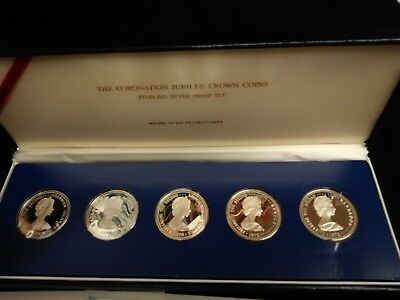 1978 Coronation Jubilee Crown Sterling Silver Coins Proof Set 5 Coin Set