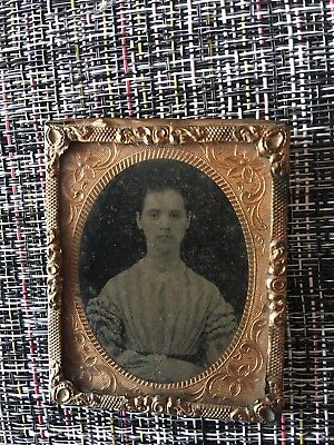 1850 tintype, 2.5 X2 Inch Beautiful Young Lady