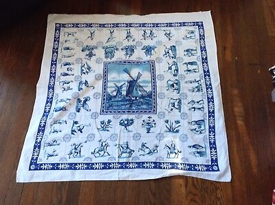 Vintage Cotton Print Table Cloth Holland Delft Blue Windmill Flowers Historical