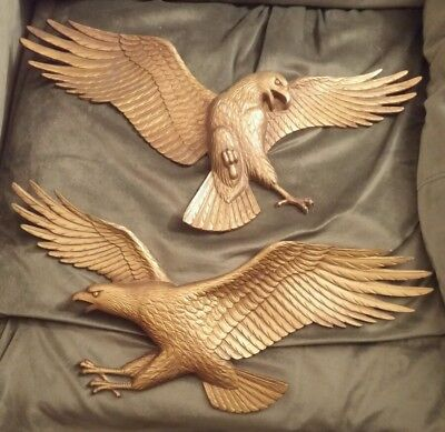 2 VINTAGE AMERICAN EAGLE SEXTON METAL WALL PLAQUE  GOLD LARGE 19 x 9 inches Pair