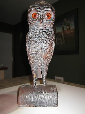 vintage cast iron & gesso owl with glass eyes