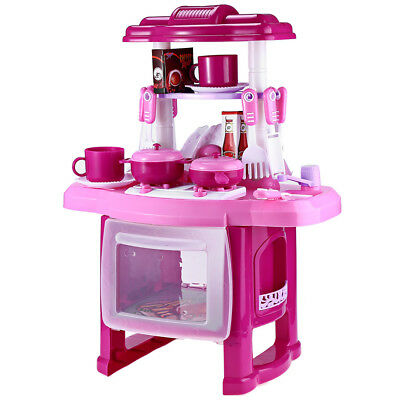 Kids Kitchen Cooking Pretend Role Play Toy Set with Music Light Educational