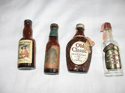 4 Vintage Miniature Liquor Bottles–Pabst Blue Ribbon, Chivas Regal, Old Classic,