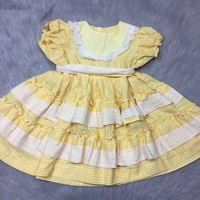 Vintage Toddler Girls Yellow White Gingham Ruffle Lace Spring Dress