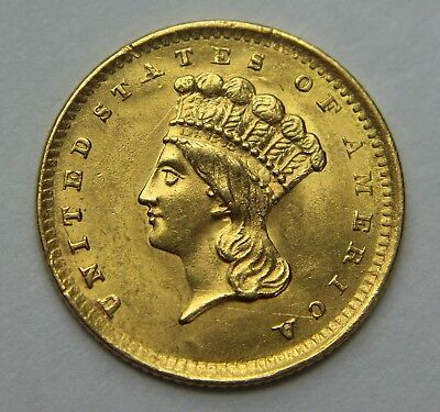 1856-P Indian Princess Head Gold Dollar $1 Large Head 22k Old US Coin NR W038