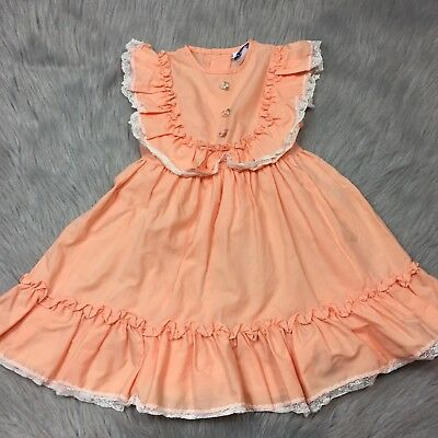 Vtg Toddler Girls Peach Orange Sleeveless Ruffle Lace Easter Spring Dress