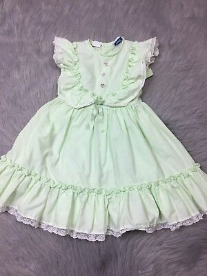 Vintage Toddler Girls Mint Green Sleeveless Lace Ruffle Easter Spring Dress