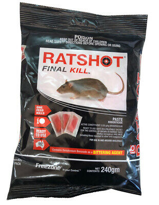 Ratshot RapidKill Rat Mouse Rodent Poison Bait Brodifacoum ONE Feed 250gm PASTE