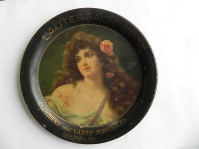 Early Tip Tray Advertising Lauterbach Clothiers Cedarburg WI Tin Litho WOMAN