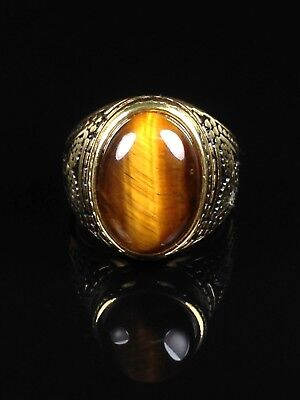 excellent Tiger-eye (move) cabochon 18k gold ring Size 9 Thai Amulet