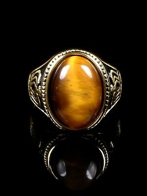 excellent Tiger-eye (move) cabochon 18k gold ring Size 11 Thai Amulet