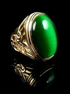 excellent Green cat's-eye (move) cabochon 18k gold ring Size 11 Thai Amulet