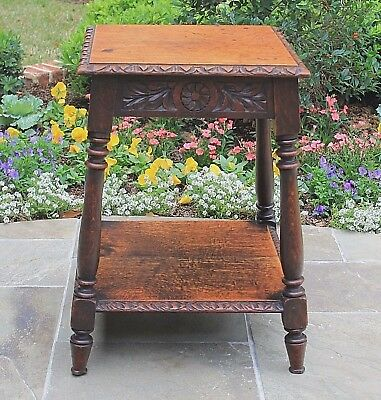 Antique English Highly Carved Oak 2-Tier Square Lamp Table End Table Turned Post