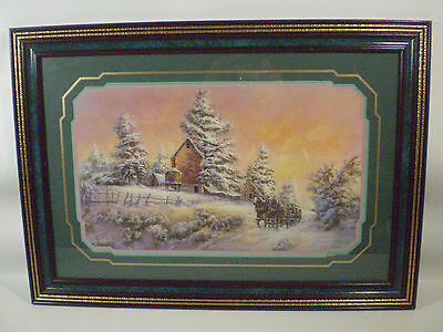 Lee K. Parkinson Framed Matted Signed Art Print Christmas Horse Carriage Snow