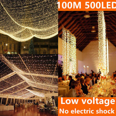 Warm White 500 LED 100M Waterproof Christmas Fairy String Light Wedding Garden