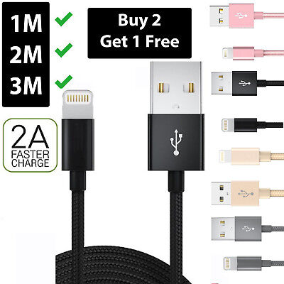 Heavy Duty Metal Braided Lightning USB Charger Cable For iPhone X 8 7 6 5 iPad