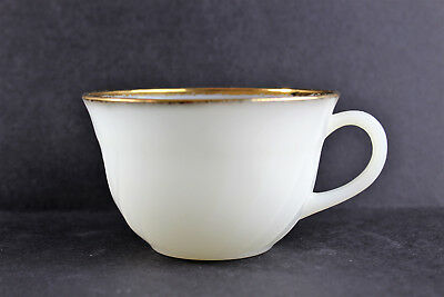 Vintage Oven Ware Fire King White And Gold Trim Rim Swirl Milk Glass Tea Cup