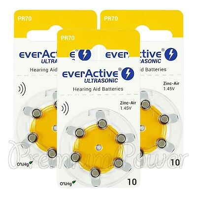 everActive Hearing aid 10 Size batteries Zinc Air PR70 1.45V Mercury free 6 - 60