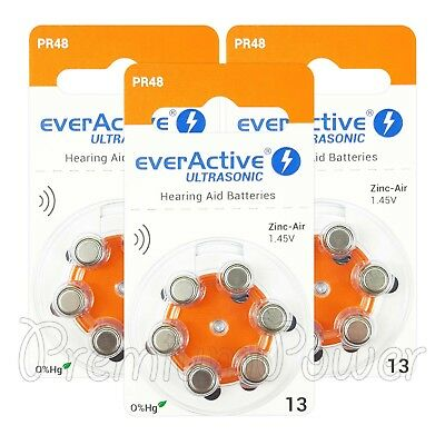 everActive Hearing aid 13 Size batteries Zinc Air PR48 1.45V Mercury free 6 - 60
