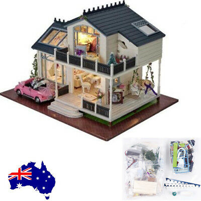 DIY Wooden Doll House Miniature Kit Architecture LED Dollhouse Toy Xmas Gift AU