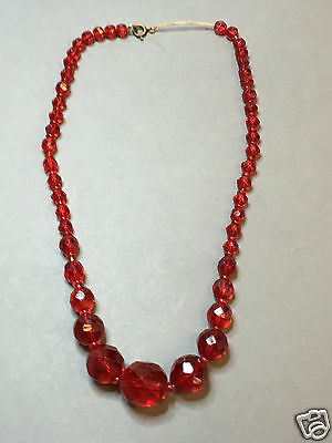 Antique Russian Art Deco Red Necklace