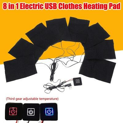 Clothes Heating Pad Adjustable Temp Electric 8 In 1 USB Thermal Clothing Jacket