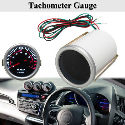 Universal Car 2'' 52mm Digital White LED Tacho Tachometer Gauge 0-8000 RPM 12V