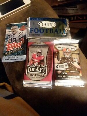 Lot of 4 Packs Of NFL Trading Cards From 2014, 2015, and 2016