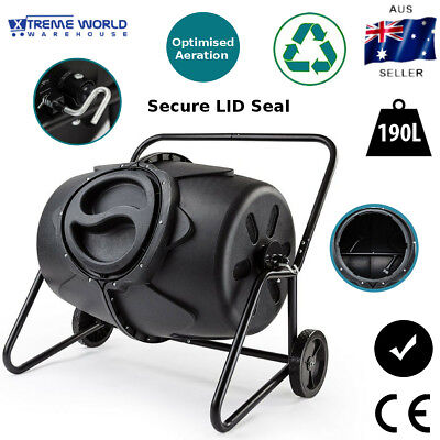 190L Recycling Aerated Compost Tumbler Bin with Textured Transportation Wheels