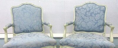 PAIR of Louis XV French Style Armchairs in Light Blue Brocade Fabric
