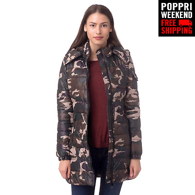 POPPRI WEEKEND: MONTE CERVINO Size L Camouflage Padded Longline Quilted Jacket