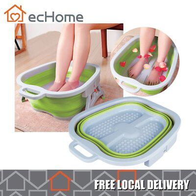 ecHome Foldable Foot Bucket Bubble Wet Foot Spa Bath Massage Relaxing Soothing