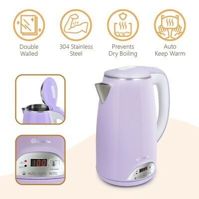 ecHome Electric Kettle 1.7L 360 Cordless Jug Stainless Steel LED 1800W Purple