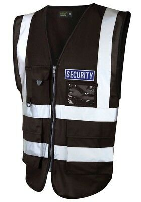 HI VIS VIZ EXECUTIVE WAISTCOAT VEST BLACK with REFLECTIVE BLUE SECURITY