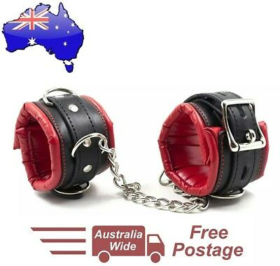 Handcuffs red & black leather restraint bondage ankle hand cuffs slave sex sexy