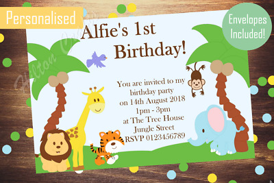 Jungle animal personalised party invites birthday invitations x12 jungle animal personalised party invites birthday invitations x12 inc envelopes filmwisefo
