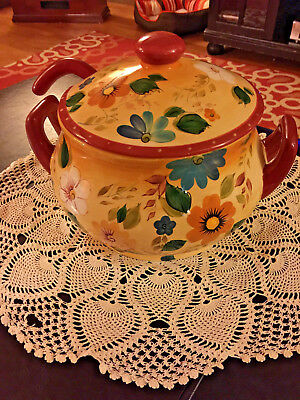 Oneida Large Hand Painted Soup Tureen Ladle Lid Sunset Bouquet