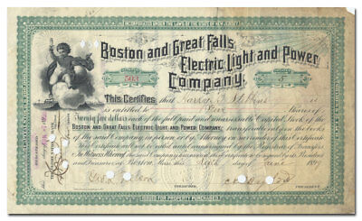 Boston & Great Falls Electric Light & Power Co Stock Certificate (RARE Issued)