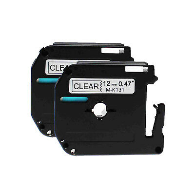 2PK MK131 Black on Clear Generic for Brother M-K131 Label Tape P-Touch PT-80