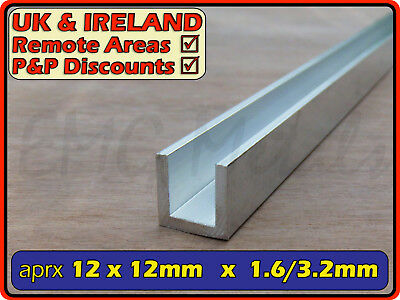"Aluminium Channel (C U section, gutter, profile, glazing,edging) | 1/2"" x 1/2"""